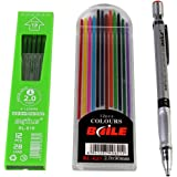 Kabeer Art Set Of Mechanical Lead Pencil + 12 Black Leads + 12 Color Leads