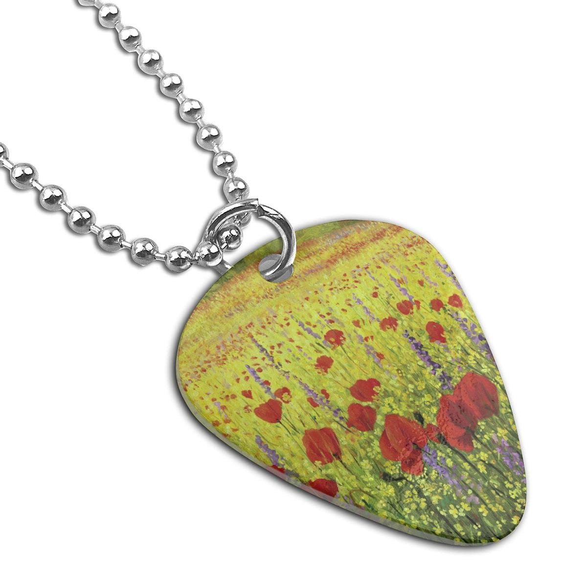 Custom Colorful Field With Poppies Military Army Pendant Tag Necklace Guitar Picks For Mens Pets