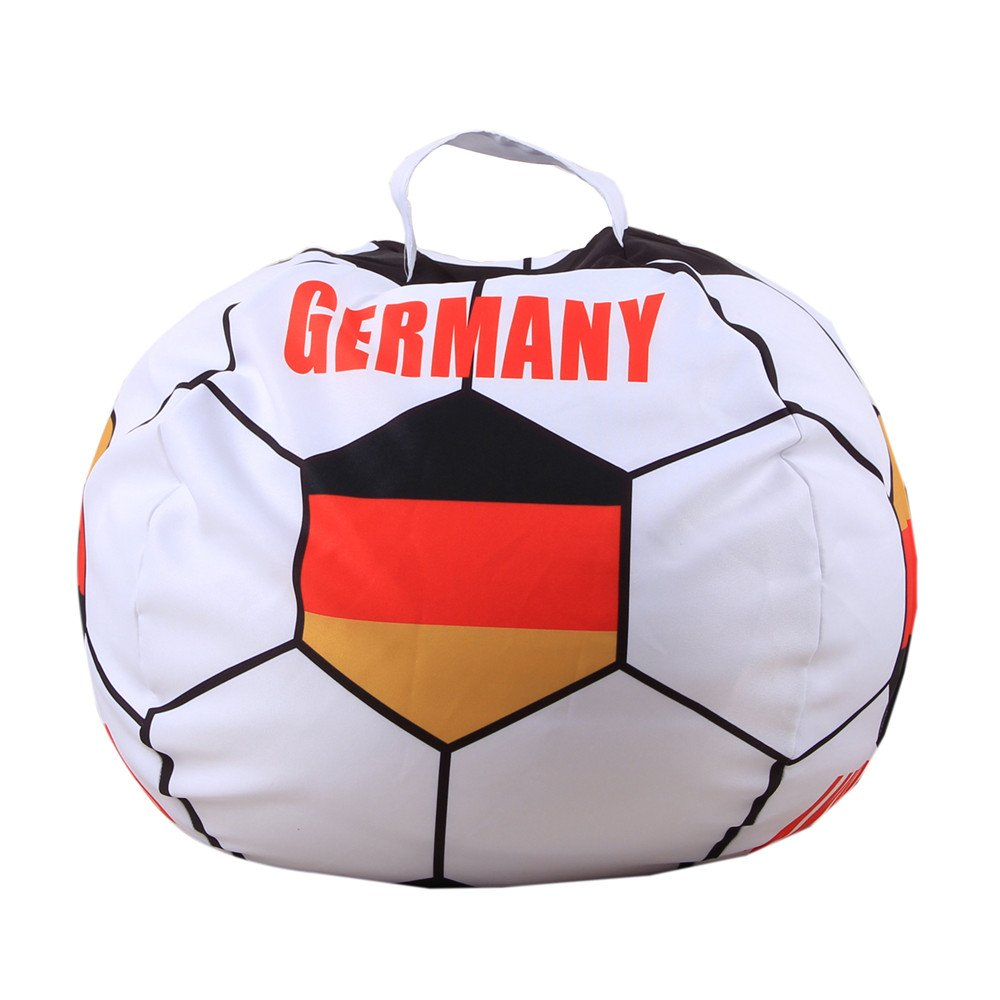 DKY Stuffed Animal Storage Bean Bag Cover,Toy Storage Solution To Clean Up & Organize for Kids Bedroom,Football World Cup Pattern Large 26'' - GERMANY