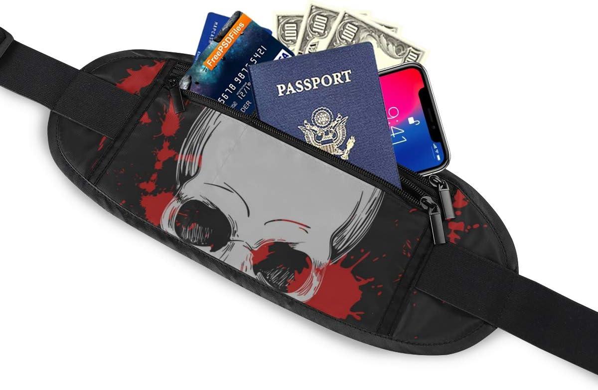 Human Skull In Blood Splashes Running Lumbar Pack For Travel Outdoor Sports Walking Travel Waist Pack,travel Pocket With Adjustable Belt