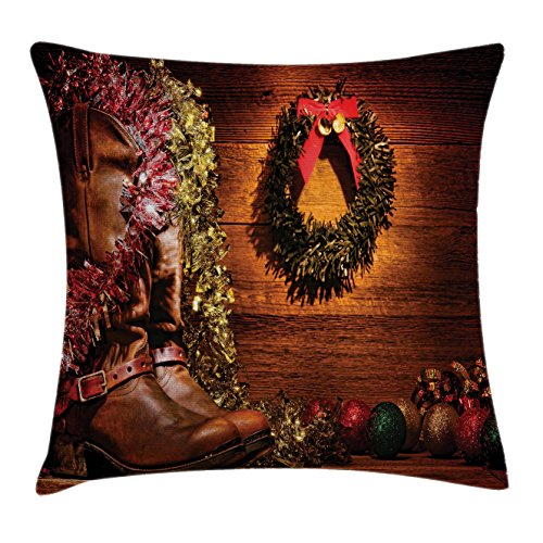 Western Decor Throw Pillow Cushion Cover by Ambesonne, Country Design with Cowboy Boots and Christmas Decorations in Vintage Cabin Lodge, Decorative Square Accent Pillow Case, 18 X18 Inches, Brown (Cowboy Christmas Decorations)