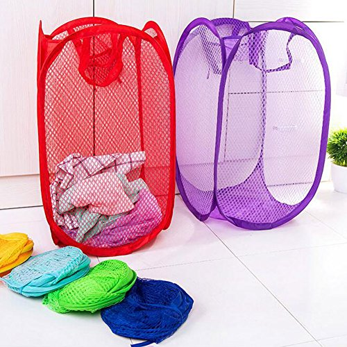Yuccer Mesh Popup Laundry Hamper Bags, Foldable Dirty Clothes Hamper Basket for Home Travel Storage Organizer (Pink+Red+Purple) by Yuccer (Image #3)