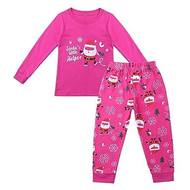 04a4b5dc1e950 TiaoBug Enfant Garçon Fille Noël Ensemble de Pyjama T-Shirt à Manche Longue  Blouse avec