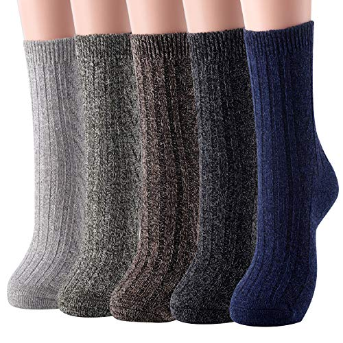 Wool Socks Crew Ankle (Womens Wool Socks Warm Winter Vintage Knit Boot Crew Socks Gifts Pack of 5 (Dark))