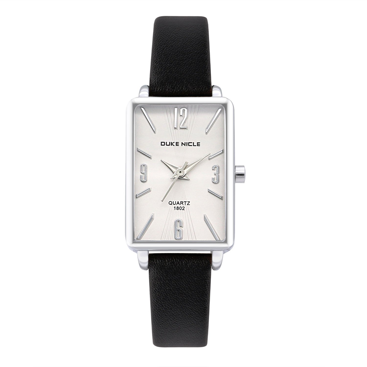 Womens Fashion Watch,Ladies Silver Rectangular Case Luxury Elegant Dress Waterproof Quartz Casual Wrist Watches for Ladies and Girls with Genuine Leather Band (Black)