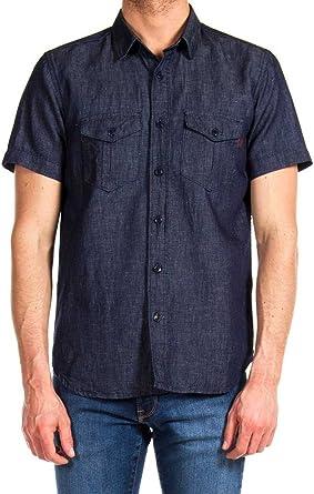 Carrera Jeans - Camisa Jeans 213 para Hombre, Estilo Western, Color Liso, Ajuste Regular, Manga Corta: Amazon.es: Ropa y accesorios