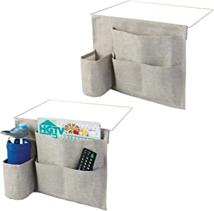 mDesign Bedside Storage Organizer Caddy Pocket - Slim Space Saving Design, 4 Pockets - Heavy Cotton Canvas - Holds Water Bottles, Books, Magazines - 2 Pack - Light Gray/Wire Insert in Satin