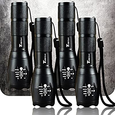 Timlon 4 PACK Tactical Flashlight Portable Emergency Flashlight 5 Mode Switch Adjustable Focus Zoomble Flashlights XML-T6 Ultra Bright 2000Lumen Aluminum Alloy Waterproof Flashlights(Black)