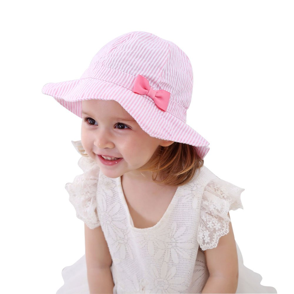 Kid Baby Girl Cotton Sun Hat Infant Toddler Foldable Summer Hats with Chin Strap