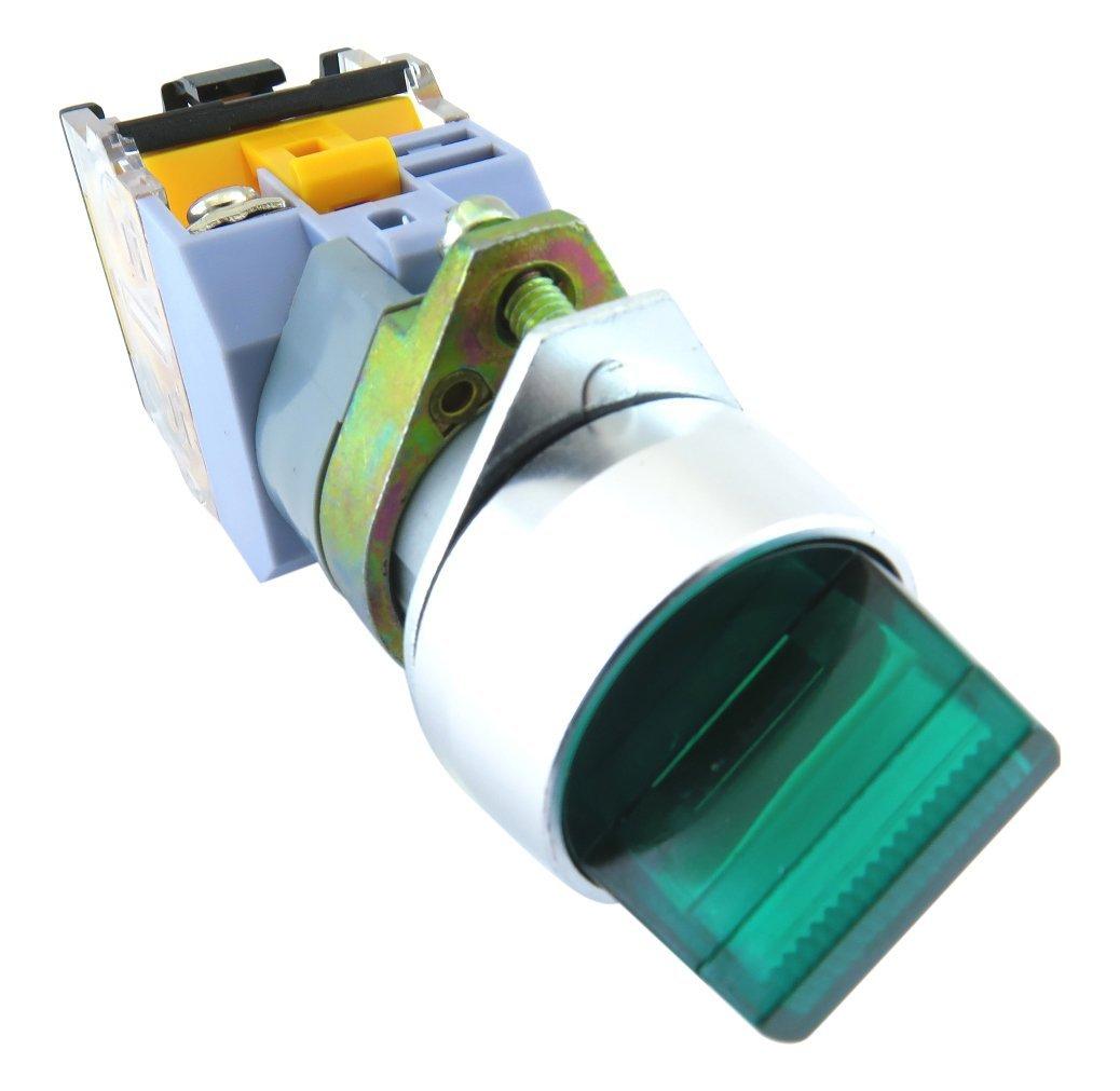YuCo YC-SS22XPMA-I3G-1 Illuminated Selector Switch, Green