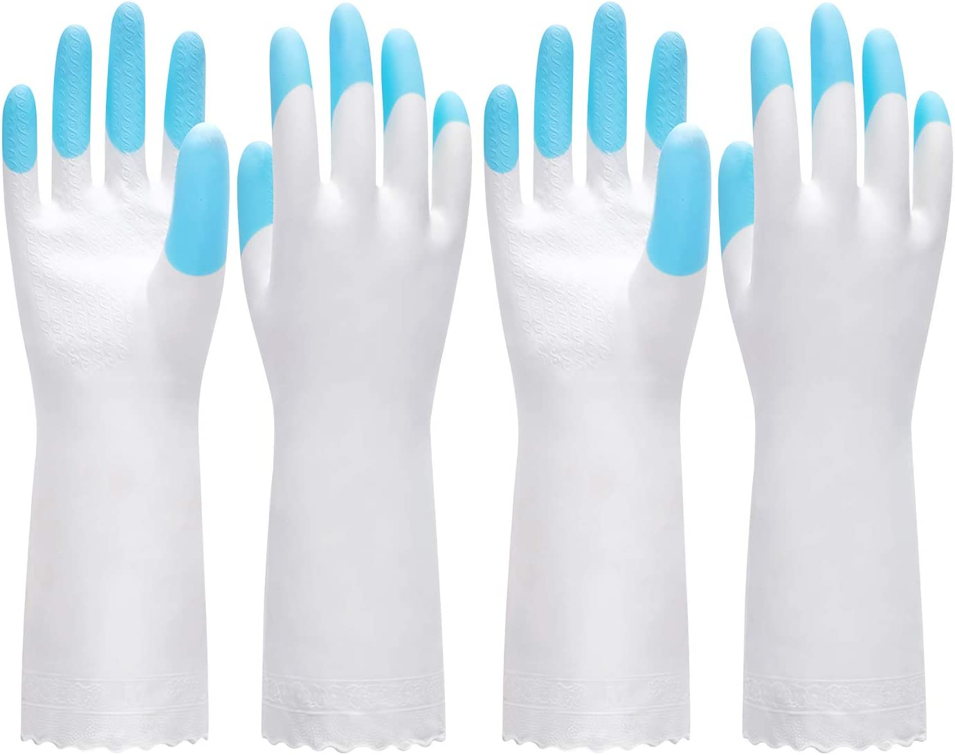Pacific PPE 2Pairs Cleaning Glove Reusable Household Dishwashing Gloves-Latex Free Waterproof PVC Gloves for Kitchen,Gardening Gloves Unlined(Blue,M)