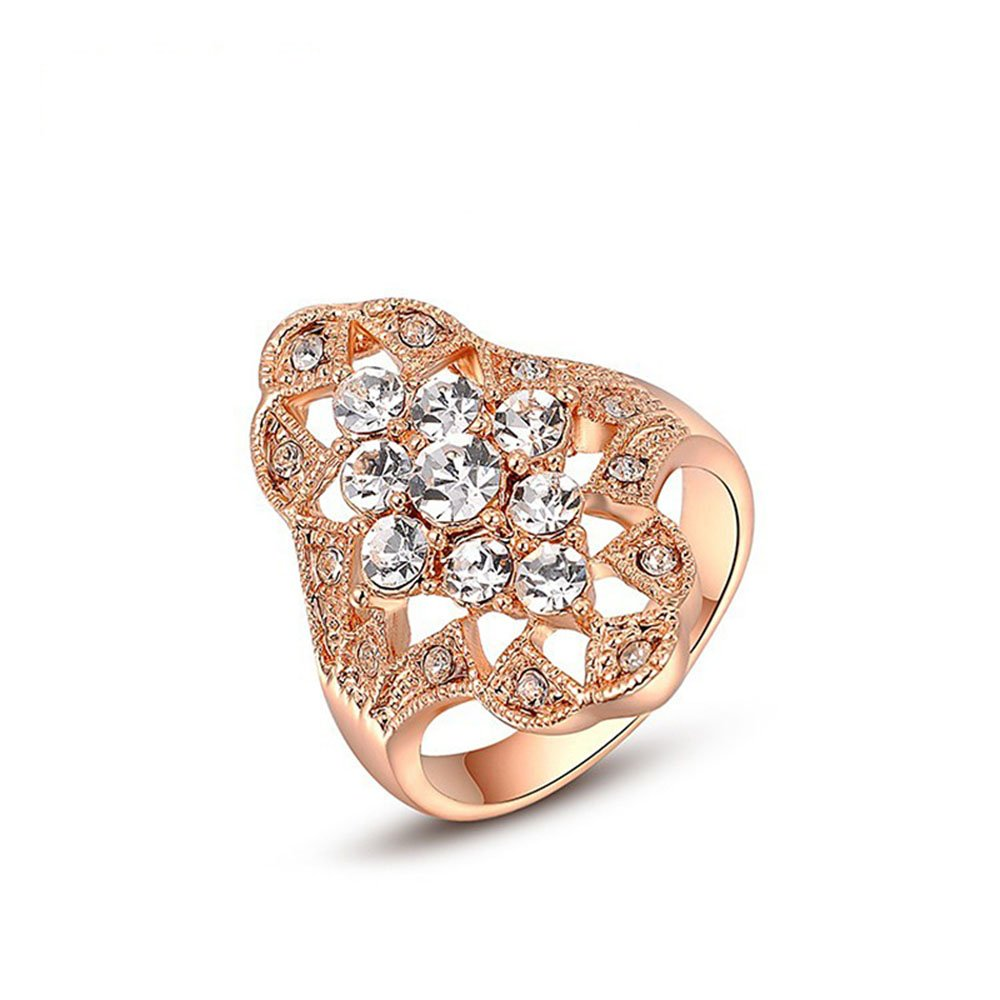 Winter.Z Noble and Elegant Ladies Jewelry Popular Explosion Models Rose Gold Diamond Ring Wedding 2010450315b