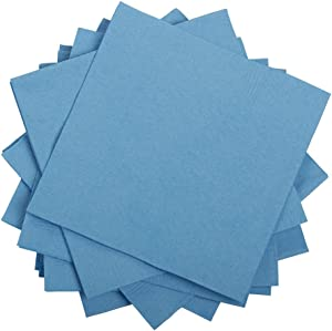 JAM PAPER Small Beverage Napkins - 5 x 5 - Pastel Blue - 50/Pack