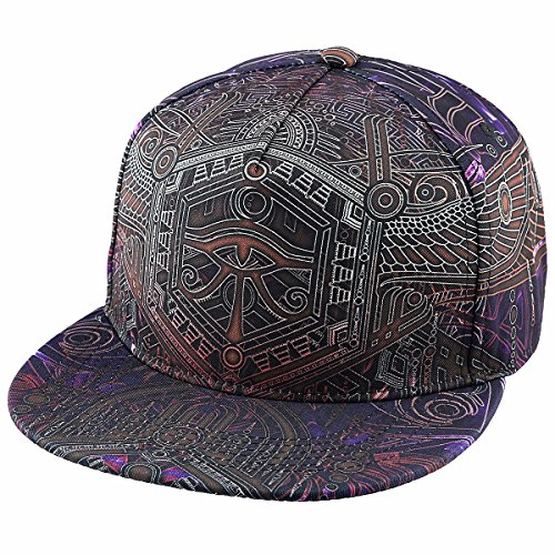 Samtree Adjustable 3D Printed Flat Bill Baseball Cap,Hip Hop Dancing Snapback Hat(Style 8) Bill Adjustable Baseball Hat