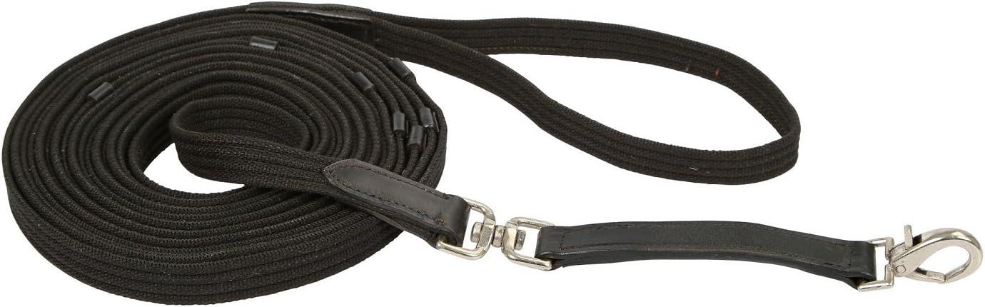 KERBL 321496 - Correa para dar cuerda con anilla giratoria y trabones de cuero, 8 m de longitud, color negro