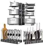 Toplife 8+ Pots and Pans Organizer Rack with 2 DIY Methods, Adjustable Kitchen Cabinet Pantry Lids, Dishes, Pots and…