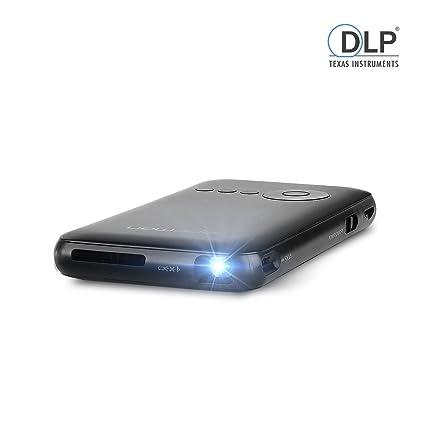 APEMAN Pico LED Proyector DLP Sistema Android Cine En Casa Proyector Portable de Wi-Fi Inteligente con la Batería Incorporada (Negro)