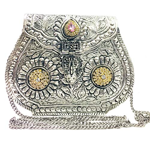 (Indian Vintage Brass silver Purse antique Ethnic Handmade Women metal clutch Bag Party bag)