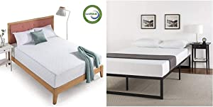 Zinus 12 Inch Gel-Infused Green Tea Memory Foam Mattress, King & ABEL 14 Inch Metal Platform Bed Frame with Steel Slat Support, Mattress Foundation, King