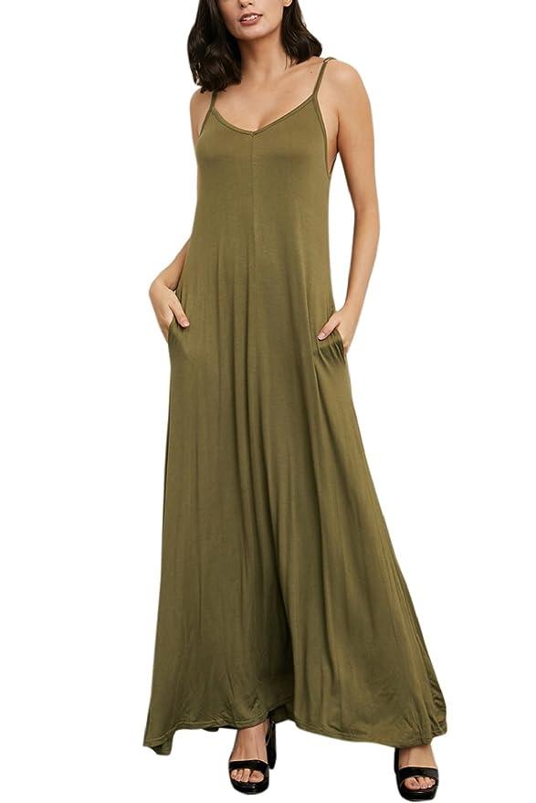Yacun Camiseta De Mujer Vestido Maxi Largo Playa De Playa con Bolsillo: Amazon.es: Ropa y accesorios