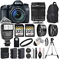 Canon EOS 70D DSLR Camera + Canon 18-135mm IS STM Lens + 0.43X Wide Angle Lens + 2.2X Telephoto Lens + UV Filter + 2 Of 32GB Class 10 Memory Card + Flash - International Version