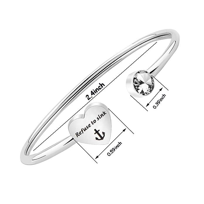 Amazon Com Gzrlyf I Refuse To Sink Bracelet Anchor Cuff Bangle