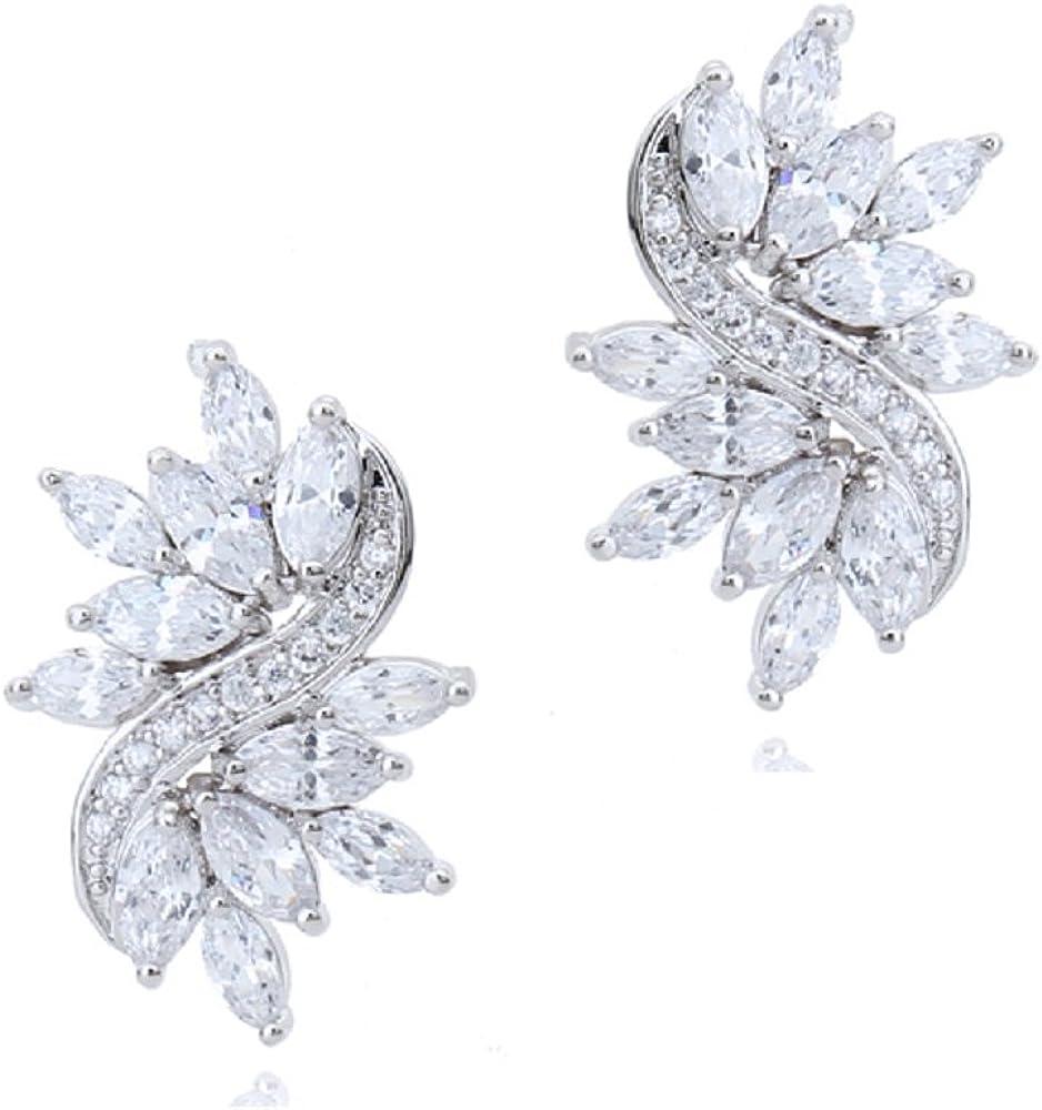 Boda Pendientes con Blanco Cristales austríacos de Zirconia 18k Chapado en oro para mujer