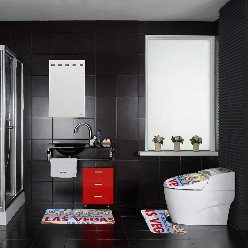 YOLOLIS Las Vegas Bathroom Set 3 Piece Bath Mat Set Bath mat Sets for Bathroom
