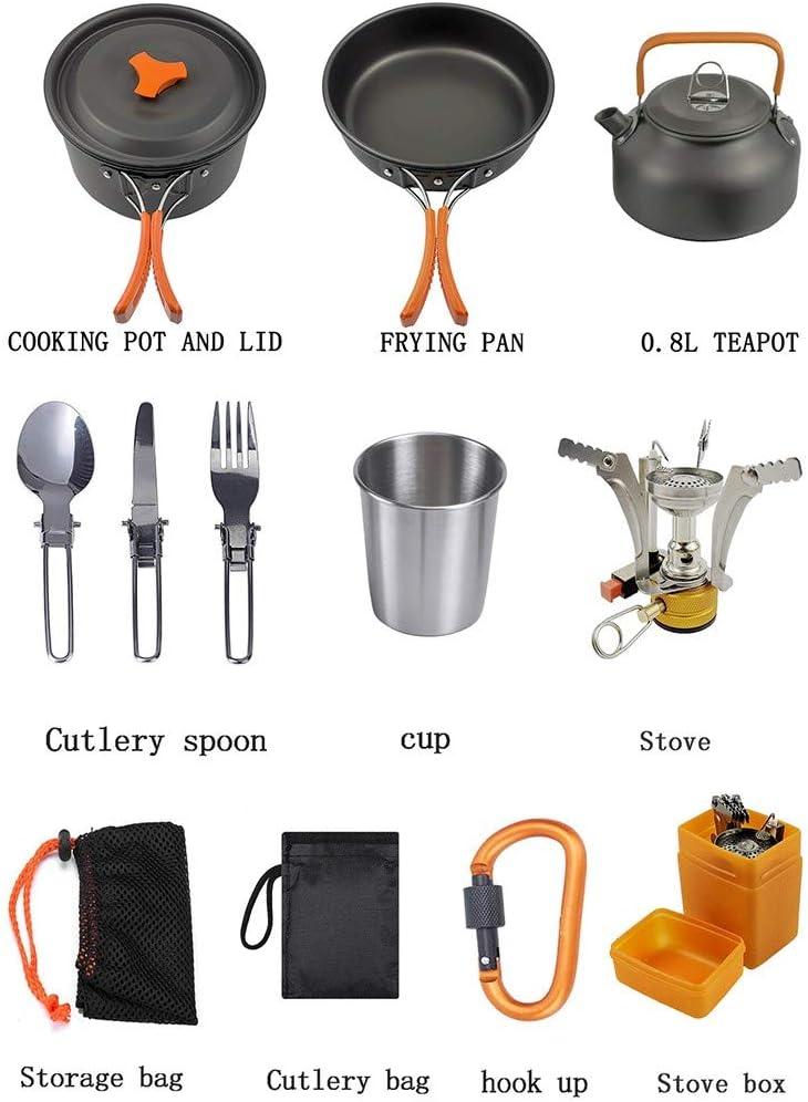 Set da campeggio per pentole all'aperto 13 pezzi con fornello, set da cucina in alluminio per 2 o 3 persone Nero