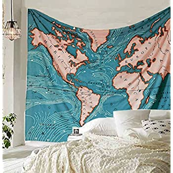 blue ocean current world map tapestry wall art hanging tapestry dorm map