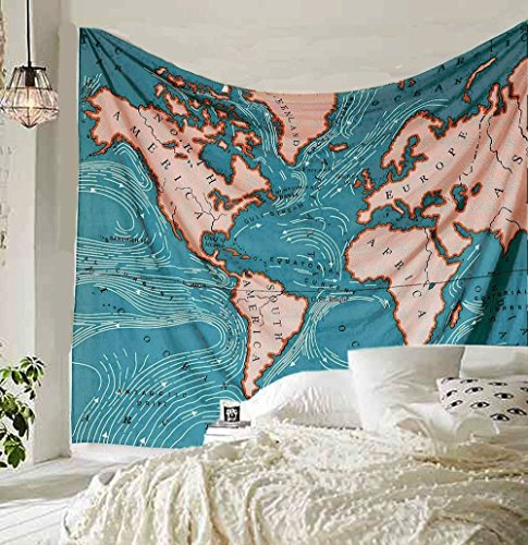 (Blue Ocean Current World Map Tapestry Wall Art Hanging Tapestry Dorm Decor(148X200cm, Map))