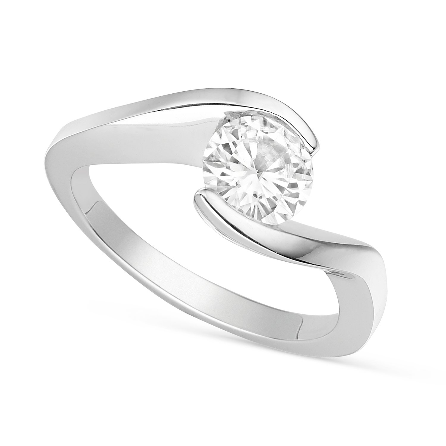 Forever Brilliant Round 6.5mm Moissanite Engagement Ring - size 8, 1.00ct DEW By Charles & Colvard