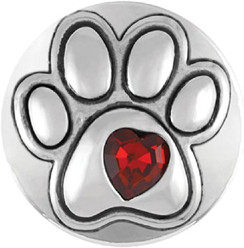 Snap glass  button charms Interchangable Jewelry  Dog Mom Paw 18mm