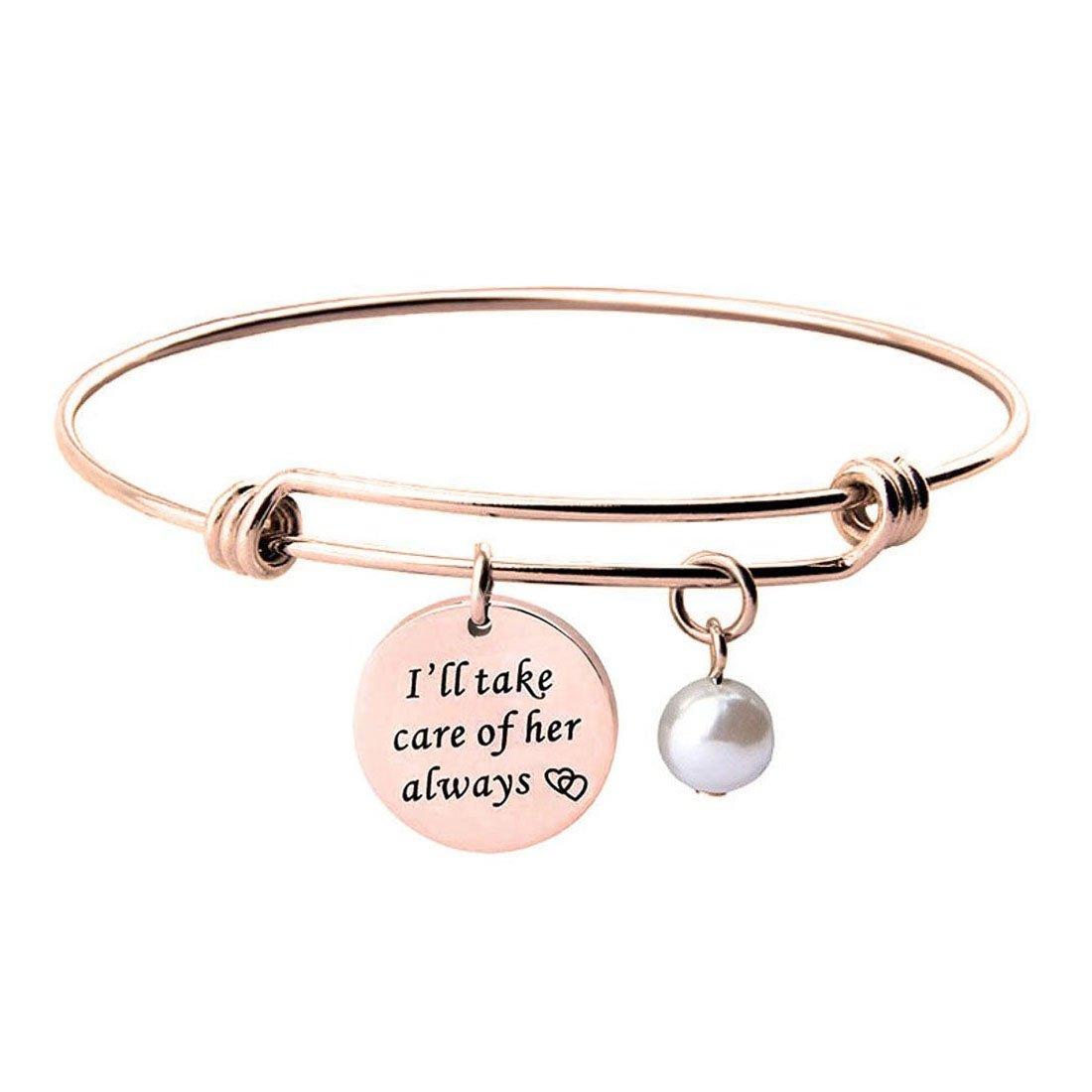 BNQL Mother of the Groom Bracelet I will Take Care of Her Always Bracelet (I will take care of her bracelet)