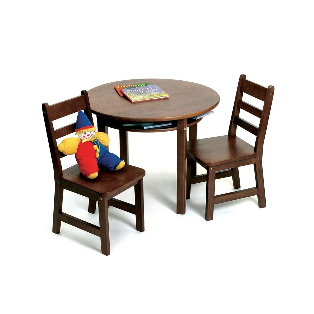 Lipper International 524WN Child's Round Table with Shelf and 2 Chairs, Walnut Finish