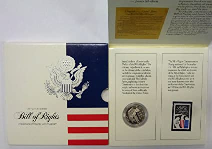 1993 S Bill Of Rights Commemorative Coin Stamp Set Half Dollar