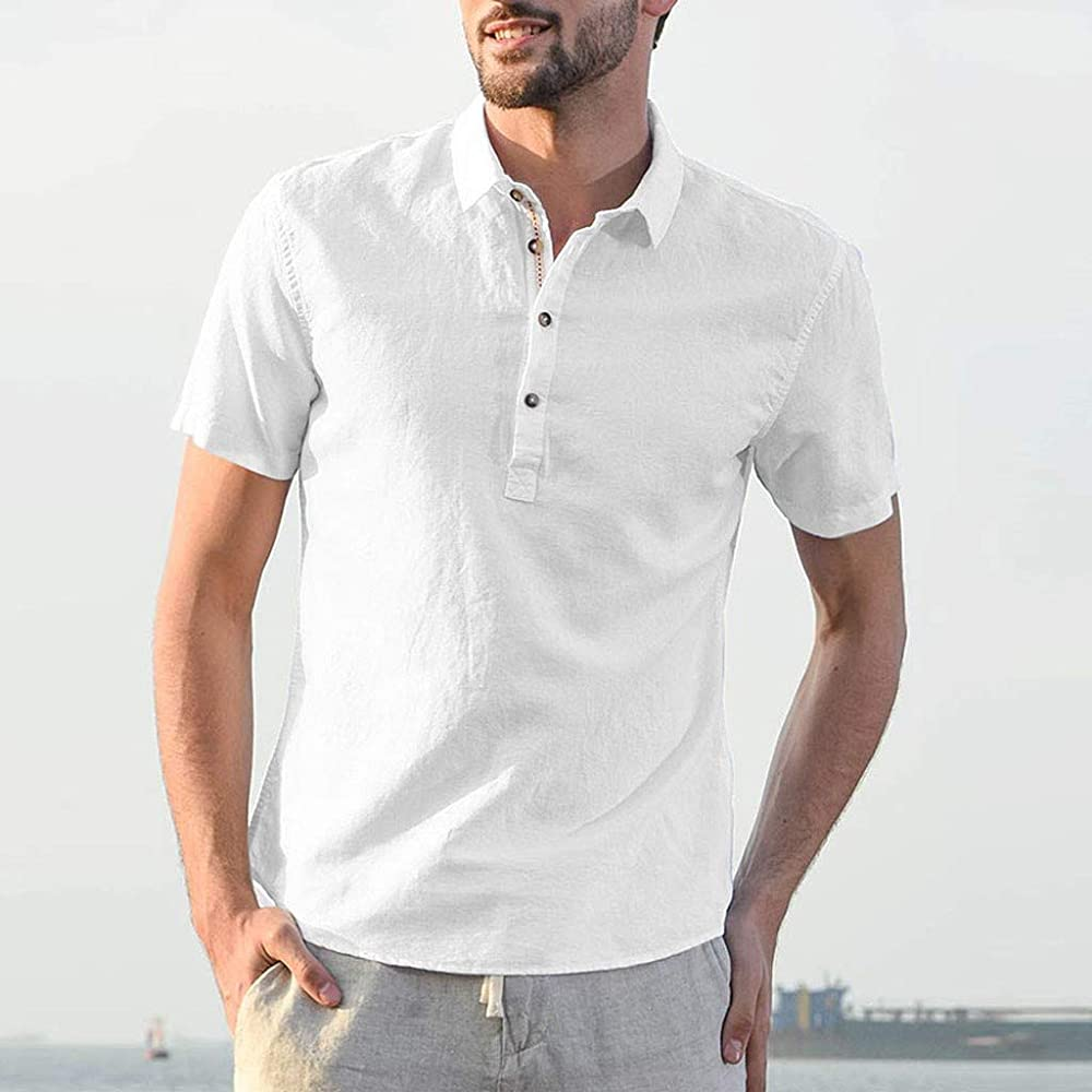 Mymyguoe Camisa de algodón para Hombres, Lino, botón de ...