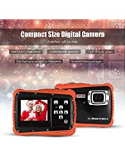 TPOTOO Compact Size 720P Hd Digital Camera Camcorder 5Mp Cmos Sensor 2.0\ Lcd Screen 3 Meters Waterproof With Built-In Microphone For Kids Children Students Boys Girls New Year Present Black