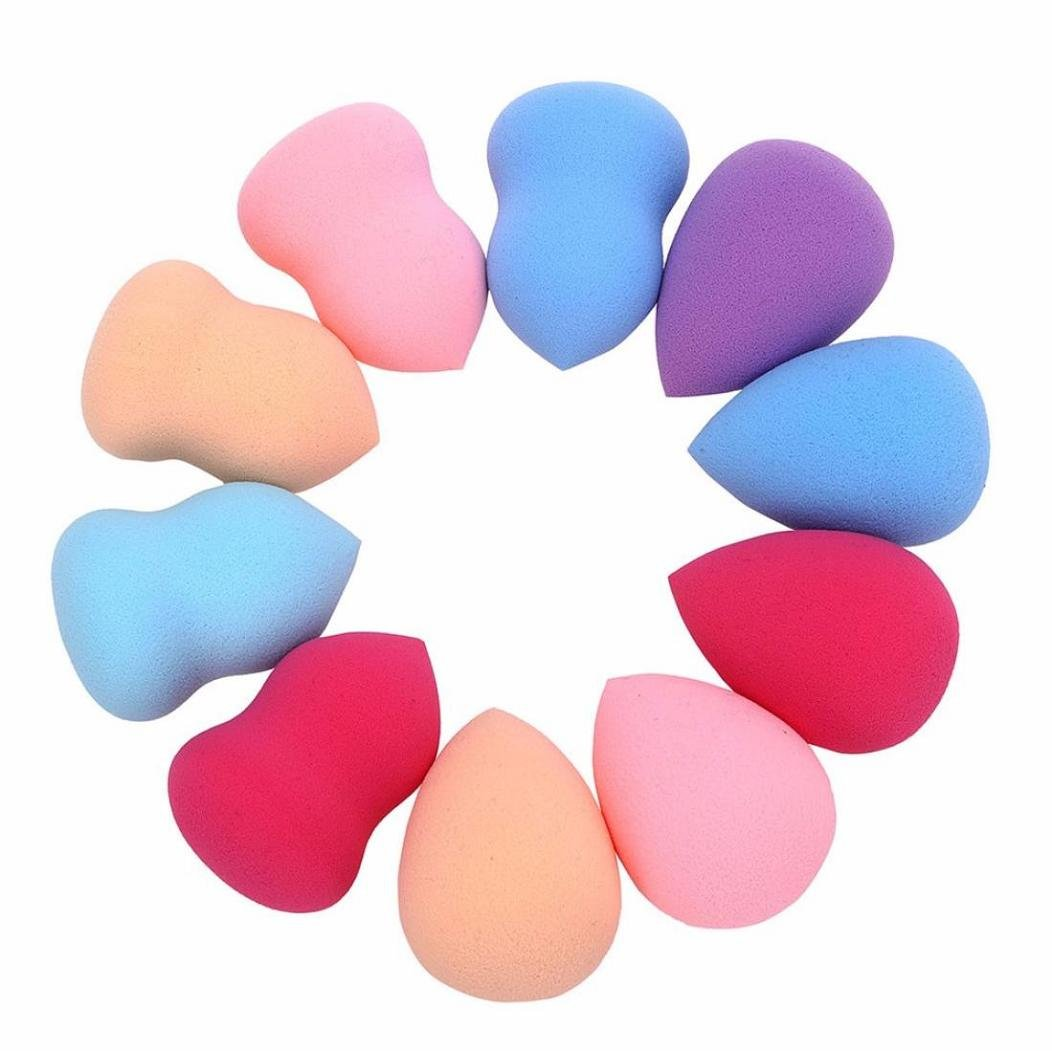 10pcs Anglewolf Multi Shape Sponges Pro Beauty Makeup Blender Foundation Puff