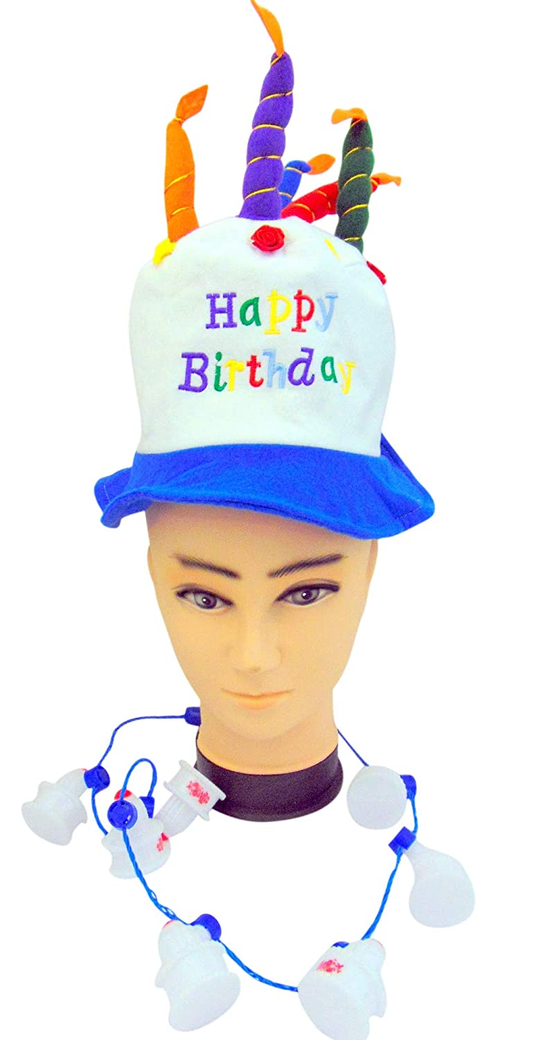 Amazon Gloworks Birthday Cake Party Wear Set Flashing Light Up Cakes Necklace Felt Hat Toys Games