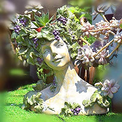 zenggp Goddess Head Planter Flower Pot Lady Vase Greek Sculpture Roman Resin Flower Planter,A