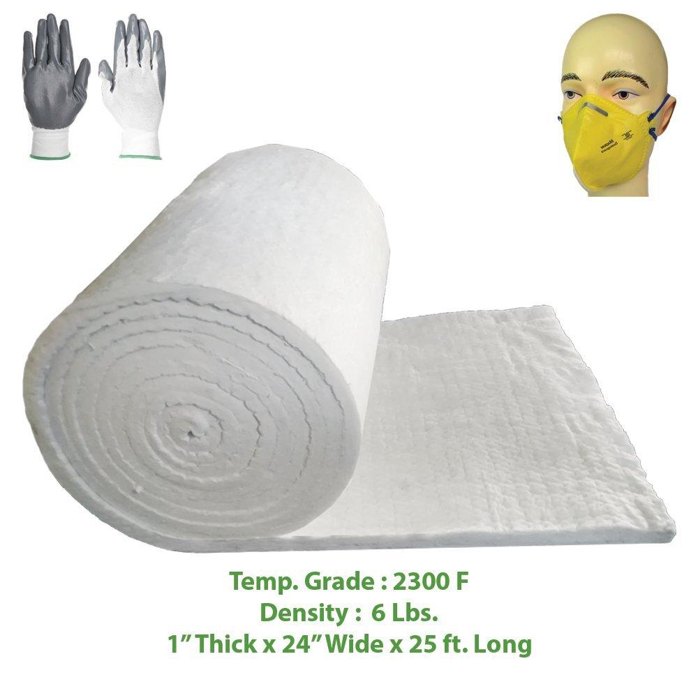 Ceramic Fiber Blanket (2300F, 6# Density) (1'' x 24'' x 25') Ovens, Kilns, Furnaces, Glass Work and Chimney Insulation