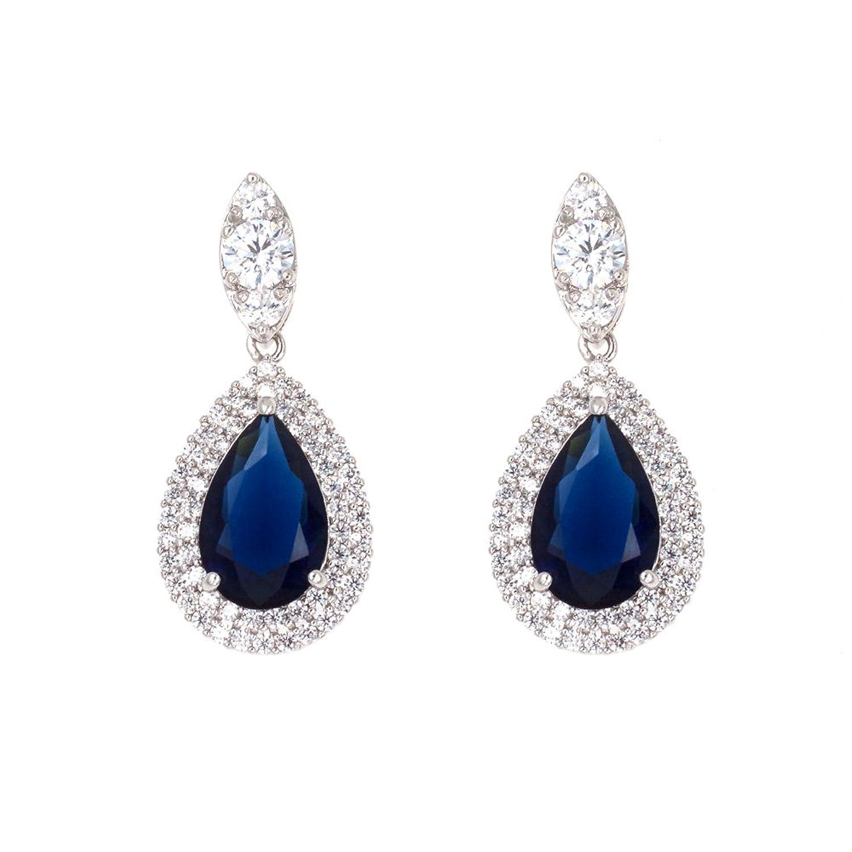 Tear Drop Dangle Earrings AAA CZ Luxury Jewelry Wedding Party For Bridal Silver Tone