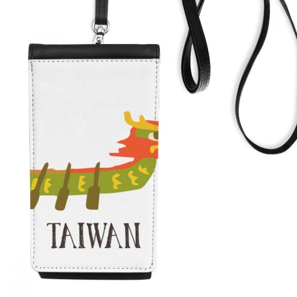 China Dragon Boat Race Travel Taiwan Faux Leather Smartphone Hanging Purse Black Phone Wallet Gift