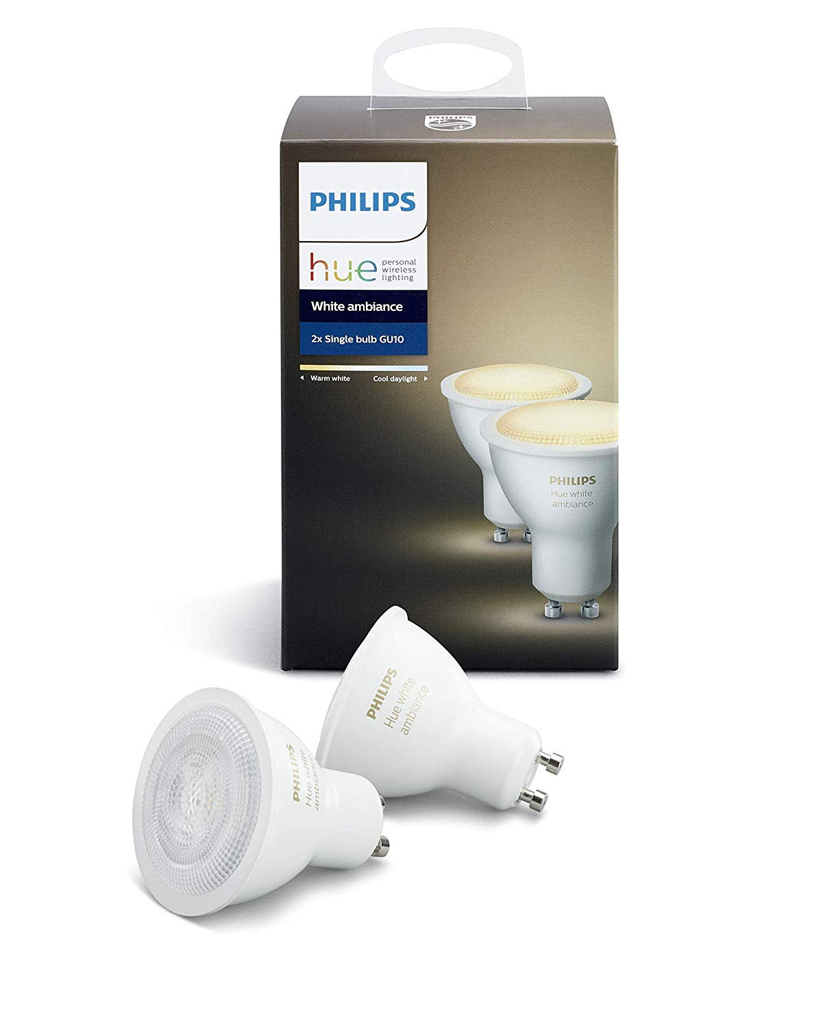 Philips Hue White Ambiance - Pack de 2 bombillas LED (2x5.5W, GU10