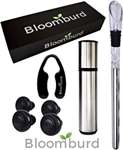 Bloomburd Wine Preserver Set - Premium Wine Saver Vacuum Pump, Stainless Steel Chill Stick, Decanting Aerator & Drip-Free Pourer, Foil Cutter and 4 Wine Stoppers | 2020 Perfect Bar Accessory Men Women