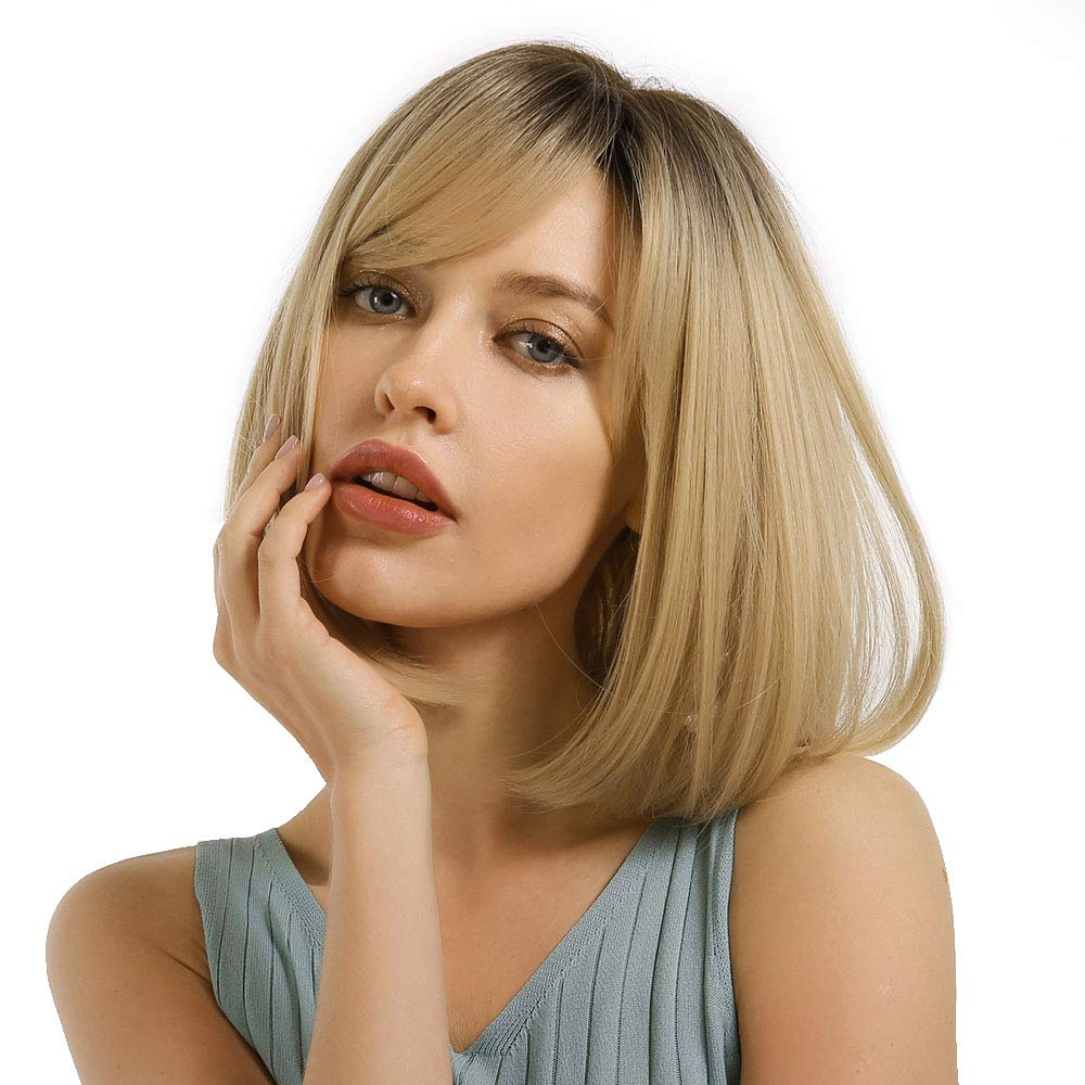 MORICA Short Bob Wig with Bangs Ombre Blonde Wig with Dark Brown Roots Straight Bob Synthetic Wig for Women Natural Heat Resistant Side Part Wigs 14 Inches for Party Daily Wear