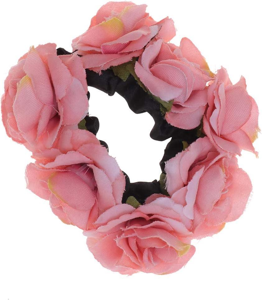 Lurrose cintas para el pelo novias flor gasa gomas para el cabello cuerda para el cabello porta cola de caballo accesorios para el cabello para bodas mujeres niñas (rosa)