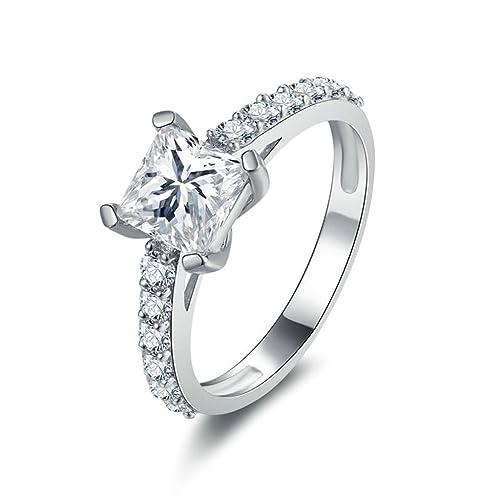 Daesar Joyería Anillos de Compromiso de Plata S925 Mujer, Brillantes Diamantes de Halo Festoneado con