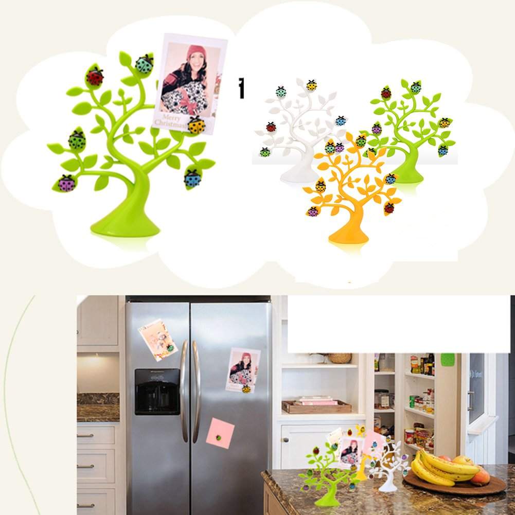 White Lucky Tree Ladybug Model Magnetic Fridge Magnet Decor Refrigerator Magnets Sticker Home Decoration Accessories Office White Board Holding Pictures Cards Papers Notes